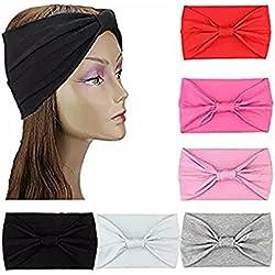 HBF 6 Piezas Turbante para Mujer Color Puro Venda De Pelo Diadema Accesorios para El Pelo (1)