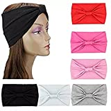 6 Pieces Women Headbands Stretchy Turban Headwraps Pure Color Hair Bows Accessories (6pcs)
