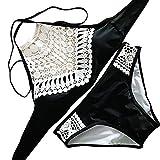 YaoDgFa Sexy Strand Damen Bikini Set Bademode Badeanzüge Bikinis für Frauen Mädchen Bandeau Neckholder Push Up Schwarz