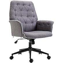 a319a713910bf Homcom Fauteuil de Bureau capitonné Chaise de Bureau Hauteur réglable  pivotant 360° Tissu Chanvre Gris