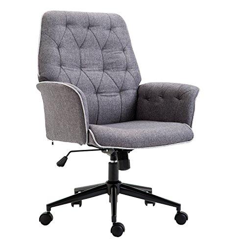 HOMCOM Linen Office Swivel Chair Mid Back Computer Seat Adjustable Armrest Desk Chair - Grey