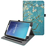 Fintie Hülle für Samsung Galaxy Tab E 9.6 T560N / T561N (9,6 Zoll) Tablet-PC - Multi-Winkel Betrachtung Kunstleder Schutzhülle Etui mit Dokumentschlitze & Auto Schlaf/Wach Funktion, Mandelblüten