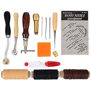 Leder Handwerk Werkzeuge Handnähen Tool Kit Nähen Werkzeug Ahle Fingerhut Gewachst Thread, 15 Stück