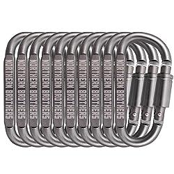 Karabiner Schlüsselanhänger Karabinerhaken - Aluminium Legierung Schraubkarabiner D-ring Form Karabinerhaken Mit Schraubverschluss Für Camping, Wandern, Angeln (10 Pcs )