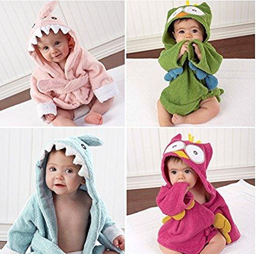 Baby Kapuzenhandtuch | kuscheliger Frottee Bademantel mit Tiermotiven | Babyhandtuch mit Kapuze | lustiges Kapuzenbadetuch (HAI Rosa)