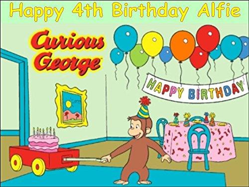 A4Curious George Essbarer Zuckerguss Birthday Kuchen Topper