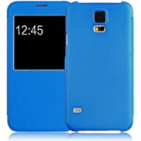 JammyLizard | Schutzhülle für Galaxy S5New | Klappschutzhülle, Flip Cover, mit Fenster für Samsung Galaxy S5S5New, Blau