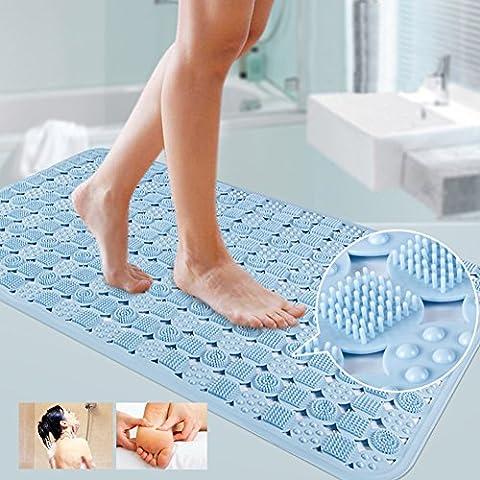 Homdsim sans odeur de solide antidérapant Tapis de bain de sécurité pour baignoire de salle de bain avec Aspiration Grip antibactérien Baignoire Tapis de douche 86,4x 58,4cm L x l Bleu clair