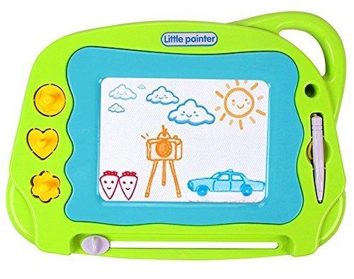 Lavagna magnetica tavolo da disegno cancellabile doodle magna per bambini +3 anni, giocattoli educativo lavagna magica a colori con penna e stampini, portatile mini dimensioni per il viaggio,verde