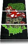 Drooling Shrooms black 3-Teiler Leinwandbild 120x80 Bild auf Leinwand, XXL riesige Bilder fertig gerahmt mit Keilrahmen, Kunstdruck auf Wandbild mit Rahmen, gänstiger als Gemälde oder Ölbild, kein Poster oder Plakat