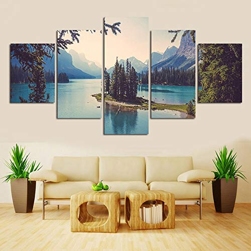 Ughjb Wandaufkleber 3d Canvas Art 5 Pieces Spirit Island On Maligne Lake Oil Painting Wall Picture Home Decoration For Living Room Decal -