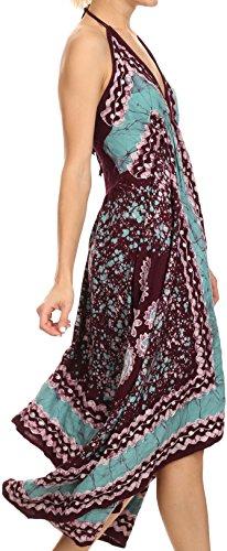 Sakkas Aleayma lungo senza bretelle Bead regolabile ricamato tinti Halter vestito superiore Borgogna / Mint