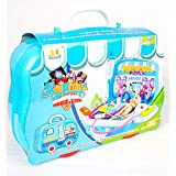 Trade Globe Doctors Medical Kit For Kids - Role Play Fun Toys Gift For Boys Girls Age 3 Years And Up - Sliding Portable Suitcase With Wheels - With 18 PCS And Stickers - Latest Model