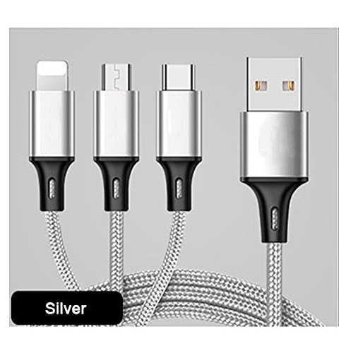 myfei Multifunktions-Handy Kabel, 1,2 m 3 in 1 Micro USB + Typ C + 8 Pin Sync Data Ladegerät Line für iPhone 5/5S/SE/6/6S/6 PLUS/6S Plus/7/7 Plus/Samsung/Huawei