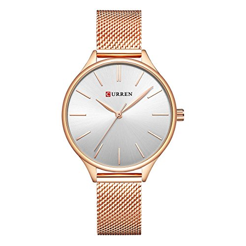 Curren Damen Quartz Uhr,Ultra Dünne Analoge Quarz Edelstahl Armbanduhr,Einfache Casual Armbanduhr für Frauen 9024