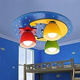 Karikatur Deckenleuchte LED Holz Glas Deckenlampen Kreative Stilvolle Lovely Deckenbeleuchtung Dekorative für Kinder Mädchen Zimmer Schlafzimmer Prinzessinzimmer Deckenstrahler E27X3