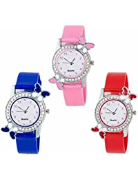 Maan International Exclusive BF20155 Premium Quality Butterfly Pink & Blue & Red Watch Pack Of 3 For Girl's &...