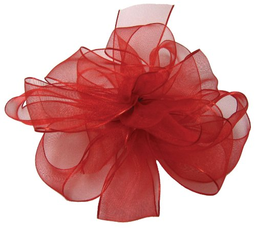 Offray Wired Edge Encore Sheer Craft Ribbon, 1-1/2-Inch Wide by 25-Yard Spool, Red by Offray -