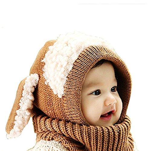 kte Hüte Schals Kapuze Mönchskutte Beanie Mützen für Kinder Junge Baby Mädchen Schalmütze Tier Mütze Wolleschal warme Haube Kappen Hüte Earflap Schaf gestrickte Kindmütze Braun (Maske Schafe)