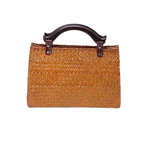 Personalisierte Stricken Hut (Handgemachte Stroh Tasche Damen Handtasche Retro Rattan Stricken Frauen Tasche Strandtasche Algengewebte Tasche BM03huang)