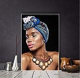 yangwuju Oro Nero Arte Africana Ritratto di Donna Nuda Quadri su Tela Immagini Poster e Stampa Foto di pareti per soggiorno-40x60cm with Frame