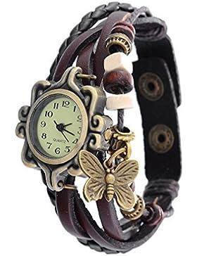 Souarts Damen Geflochten Armbanduhr Jugendliche Maedchen Armreif Uhr mit Batterie Zifferblatt Kaffee