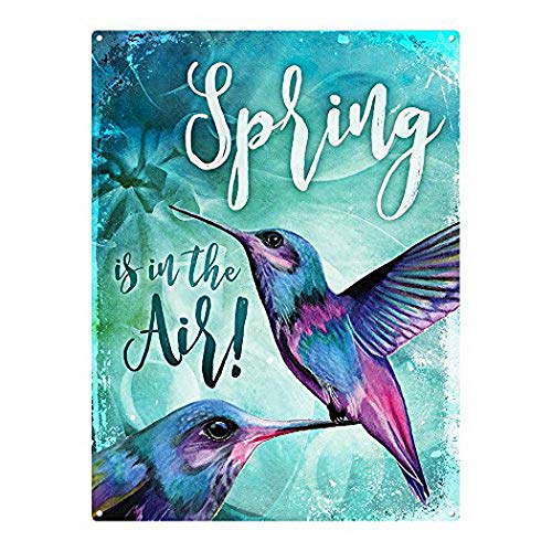 Harvesthouse Spring is in The Air, Hummingbirds 12 x16 Metal Sign, Brings, Flowers, Garden by -