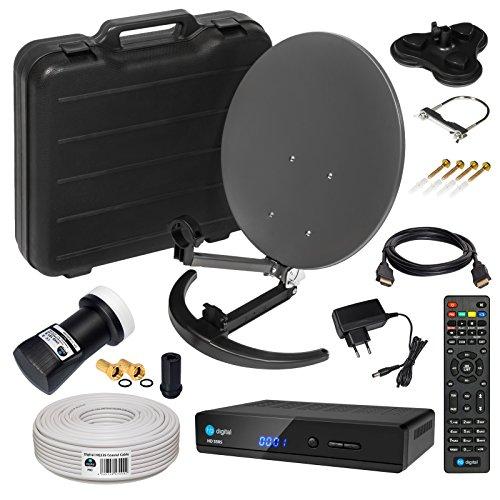 HD Camping Sat Anlage im Koffer von HB-DIGITAL:  Mini Sat Schüssel 40cm Anthrazit ➕ UHD Single LNB 0,1 dB ➕ Hochwertiger mini Sat-Receiver ➕ 10m SAT-Kabel inkl. F-Stecker  4K UHD Full HD 1080p fähig