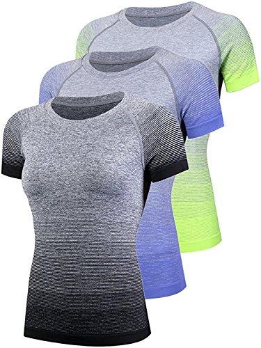 SANANG T-Shirt de Sport à Manches Courtes Pour Femmes T-Shirt de Sport en Cours D'Exécution Gym Tee Shirt Gradient Couleur Noir + Bleu + Vert