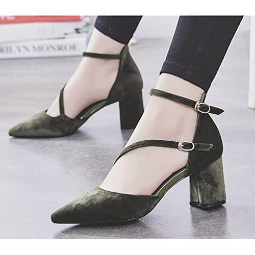 Damen Moderne Sandalen Spitz Zehen Weich Nubukleder Anti-Rutsche Blockabsatz Schnalle Sommer Schuhe Grün