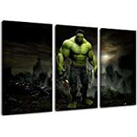 Dark Motivo Hulk, 3 piezas sobre lienzo (Tamaño total: 120x80 cm), la impresión del arte de alta calidad como mural. Más barato que una pintura al óleo! ATENCIÓN NO carteles o cartel!