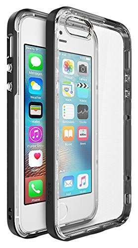 Ringke Drop Clear Soft Shock Absorption Protection Bumper Case for Apple iPhone SE/5/5S - Black-parent, gris clair, moyen noir