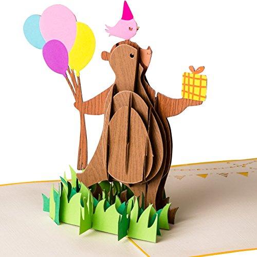 - Happy Birthday Party Bär mit Luftballons - Pop up Karte, Grußkarte, Glückwunschkarte Geburtstag, Grußkarte, Geschenkkarte, Happy Birthday Card, Bärchen ()