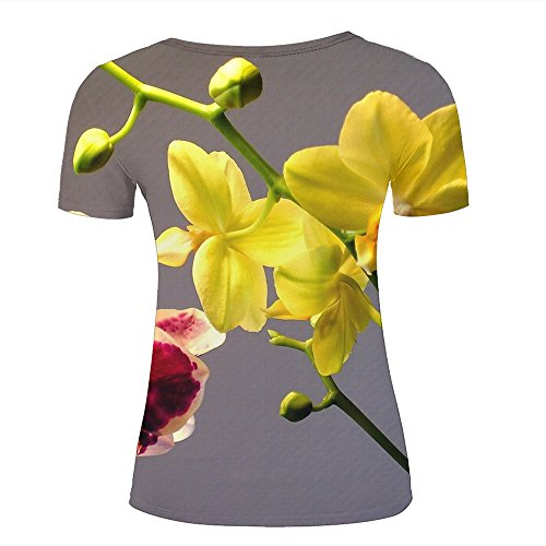 ouzhouxijia Mens 3D Printed T-Shirts Pink and Yellow Orchids Graphics Couple Tees C