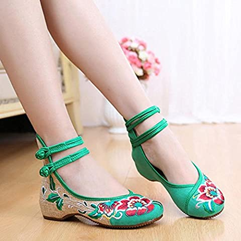 ZHUOTOP Chic Popular New Breathable Embroidered Shoes Chinese Style Dichotomanthes Bottom Casual Flat Shoes 35-Green