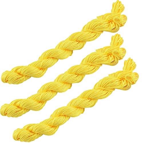 sourcingmap® 3Stk Fest Polyester DIY Chinesisch Knoten Armband Rattail Schnur Gelb 31Yards (Rattail Schnur)