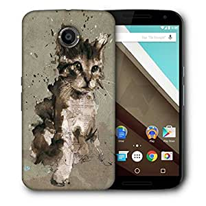 Snoogg Abstract Cat Printed Protective Phone Back Case Cover For LG Google Nexus 6