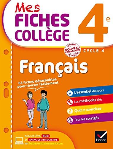 Mes fiches collège Français 4e: 40 fiches de révision et 120 exercices corrigés par Hélène Ricard