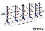 Kragarmregal KR6000 für extrem schwere Lasten, 1000kg/Arm, 3000kg/Ständer, Breite 7,5m, Höhe: 4m, Armtiefe 75cm, 4 Ebenen, einseitig, Langgutregal