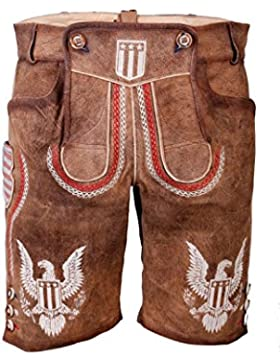 Krüger - Herren Lederhose, mit USA Wappen aus Ziegenvelour-Leder in Braun, USA (Artikelnummer: 94656-7)