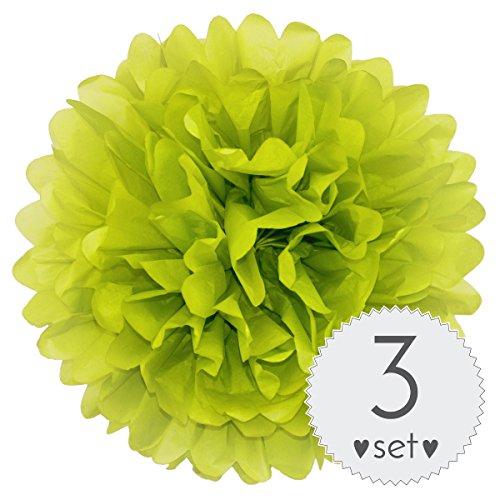 Simplydeko PomPoms Apfel-Grün - Pom Pom Deko zur Hochzeit oder Party - 3er Set handgefertigte Seidenpapier Pompons (Apfel-Grün, 20 cm)