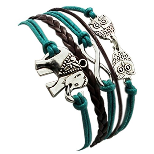 HITOP Fashion Vintage Cool Charms Damen best friend Leder Bronze Armband Elefanten Eule Lederarmband Bracelet mit Charm Anhänger (Kostüme Besten Paare 20)