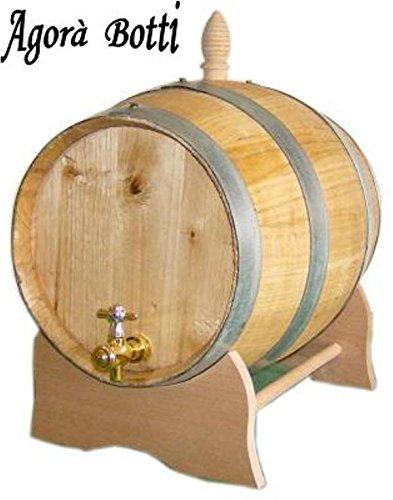 la botte se vende con soporte de pared, tapón obturador y tapón de válvula de latón, fabricada con madera de castaño, es adecuado para la conservación de vinos, destilados y vinagre.