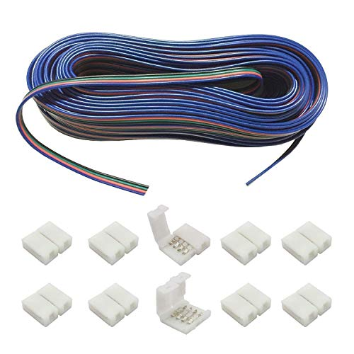 LITAELEK 20m RGB Verlängerungskabel 4 polig LED Streifen Verbindungskabel LED Strip Extension DC 12V Kabel LED Stripe Verbinder Anschlusskabel für RGB 5050 3528 2835 LED Band, Lautsprecherkabel, usw.