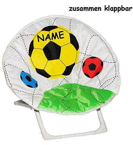 Unbekannt Fußball - Stabiler + Leichter - Liegestuhl / Campingstuhl / Klappstuhl - incl. Name - aus Metall mit Stoff bezogen - für Circa 1 - 5 Jahre - Faltsessel - falt..