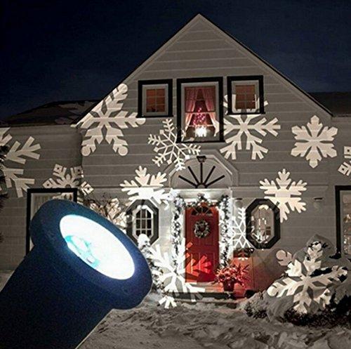 Preisvergleich Produktbild Ghope IP67 LED Projektionslampe Schneeflocken Muster Strahler für Weihnachten Innen und Außen Garten Beleuchtung, Weiß