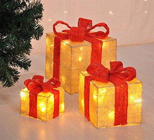 Gravidus 3er Set beleuchtete Geschenkboxen Weihnachten - Beige - Geschenkboxen Weihnachten Beleuchtete