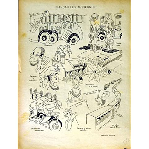 Impresión Antigua de la Bici del Coche de Tren del Transporte de la Revista del Humor de Le Rire French