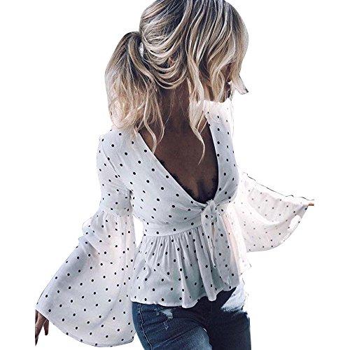MOIKA Damen Crop Tops, Sommer Trompete Langarm-Strickjacke Solid Color Top T-Shirt (XL, Weiß Wellenpunkt)