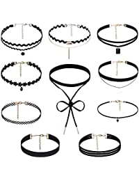 Rovtop 10 Pcs Choker Necklace for Women Teens Girls, Black Classic Velvet Stretch Gothic Tattoo Lace